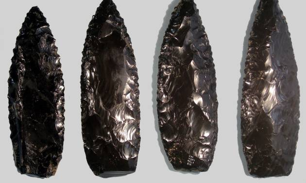 In this undated image released by Mexico's National Institute of History and Anthropology, INAH, sharp obsidian knives found in Cantona, in the central Mexico state of Puebla, are displayed for photos. Researchers in Mexico announced Wednesday that they have found blood cells and fragments of muscle, tendon, skin and hair on 2,000-year-old stone knives, calling it the first conclusive evidence from a large number of stone implements pointing to their use in human sacrifice. (AP Photo/INAH/Yadira Martinez, HO)