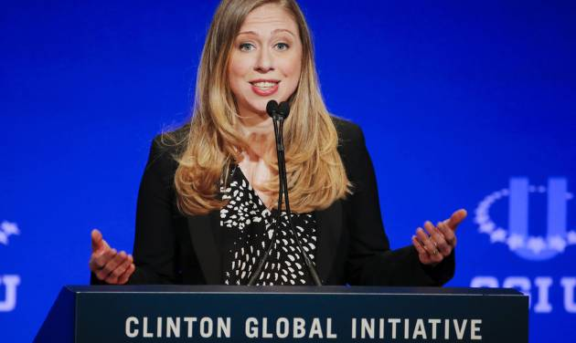 FILE - In this March 2, 2014 file photo, Chelsea Clinton, vice chair of the Clinton Foundation, speaks during a student conference for the Clinton Global Initiative University at Arizona State University in Tempe, Ariz. Clinton says she's happy right now with her elected representatives and has no desire to go after their jobs. Although she has denied any interest in elected office in the past, she left open the possibility of a run should she become dissatisfied with the office holders who represent her. (AP Photo/Matt York, File)