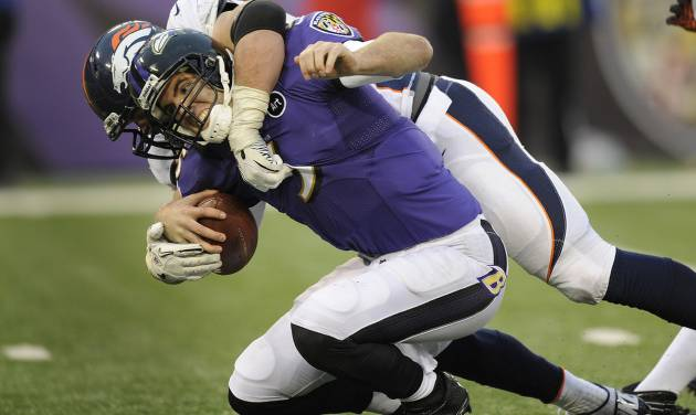 Baltimore Ravens quarterback Joe Flacco is sacked by Denver Broncos defensive end Derek Wolfe during the second half of an NFL football game in Baltimore, Sunday, Dec. 16, 2012. The Broncos defeated the Ravens 34-17. (AP Photo/Nick Wass)