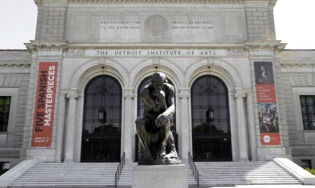 "FILE-- In this July 10, 2012 file photo, Auguste Rodin's sculpture ""The Thinker"" is shown outside The Detroit Institute of Arts in Detroit. Valuable art is back on the docket in Detroit's bankruptcy case. A judge is holding a hearing Thursday, May 15, 2014 on many issues, including a request by some creditors to force the city to work on ways to make money from art at the Detroit Institute of Arts. (AP Photo/Paul Sancya)"