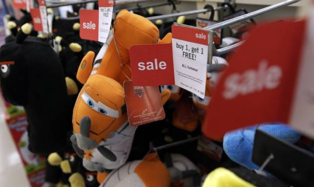 In Thursday, Nov. 28, 2013, photo, slippers are sold at a Kmart in New York. The Labor Department releases Consumer Price Index for December on Thursday, Jan. 16, 2014.  (AP Photo/Julio Cortez)