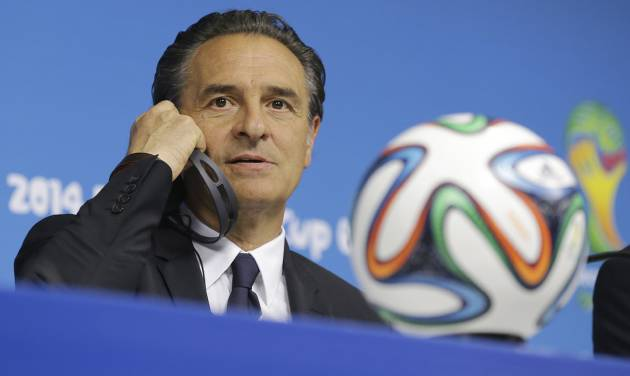 Italy's coach Cesare Prandelli listens questions during a press conference at Arena Pernambuco stadium in Recife, Brazil, Thursday, June 19, 2014. Italy plays in group D at the soccer World Cup. (AP Photo/Antonio Calanni)