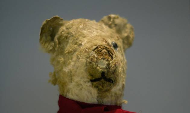 "Holocaust survivor Stella Knobel's teddy bear on display at the memorial's ""Gathering the Fragments"" exhibit at Yad Vashem Holocaust memorial and museum in Jerusalem, Sunday, Jan. 27, 2013., Sunday, Jan. 27, 2013. When Stella Knobel's family had to flee World War II Poland in 1939, the only thing the 7-year-old girl could take with her was her teddy bear. For the next six years, the stuffed animal never left her side as the family wondered through the Soviet Union, to Iran and finally the Holy Land. ""He was like family. He was all I had. He knew all my secrets,"" the 80-year-old now says with a smile. ""I saved him all these years. But I worried what would happen to him when I died."" So when she heard about a project launched by Israel's national Holocaust memorial and museum to collect artifacts from aging survivors - before they, and their stories, were lost forever - she reluctantly handed over her beloved bear Misiu - Polish for ""Teddy Bear""- so the fading memories of the era could be preserved for others. (AP Photo/Ariel Schalit)"
