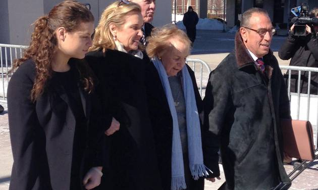 Kerry Kennedy, second from left, walks with her mother, Ethel Kennedy, third from left, as she leaves the Westchester County Courthouse, Friday, Feb. 28, 2014 in White Plains, N.Y. Kerry Kennedy was acquitted Friday of driving while impaired. after she accidentally took a sleeping pill on July 13, 2012 and then sideswiped a truck in a wild highway drive she said she didn't remember. The trial centered on whether or not she realized she was impaired and should have stopped.  (AP Photo/Jim Fitzgerald)