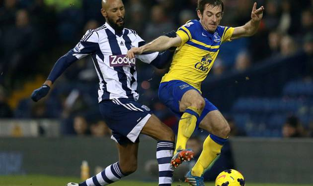 Everton's Leighton Baines, right, and West Bromwich Albion's Nicolas Anelka battle for the ball during their English Premier League soccer match at The Hawthorns, West Bromwich, England, Monday, Jan. 20, 2014. (AP Photo/PA, David Davies) UNITED KINGDOM OUT