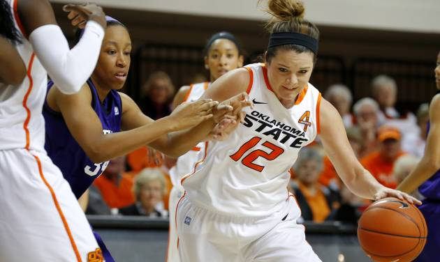 Oklahoma State's Jordan Schultz (12) drives past Stephen F. Austin's LaNesha Middleton (34) during a women's college basketball game between Oklahoma State University and Stephen F. Austin at Gallagher-Iba Arena in Stillwater, Okla., Thursday, Dec. 6, 2012.  Photo by Bryan Terry, The Oklahoman