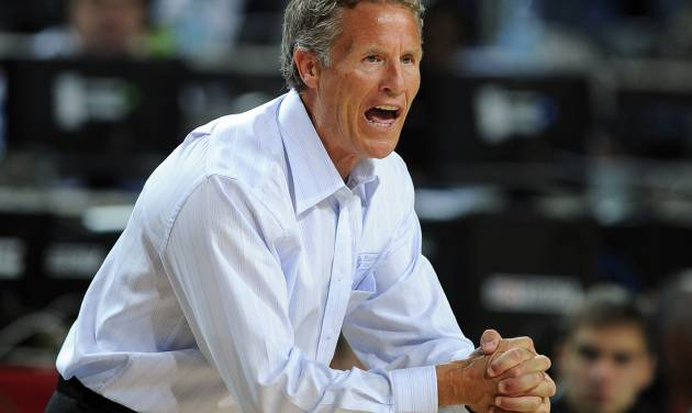 FILE - In this Sept. 5, 2010, file photo, Australia head coach Brett Brown gestures during the eighth final round of the World Basketball Championship against Slovenia, in Istanbul, Turkey. San Antonio's Brown and Houston's Chris Finch are two trusted assistants on playoff-caliber NBA basketball teams, and have been for some time. Both got the chance to run the show this summer at the Olympics, Brown coached Team Australia and Finch headed Team Great Britain, and it only wetted their appetites more to get a chance to lead a team in the NBA. (AP Photo/Mark J. Terrill, File)