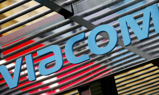 FILE - This Jan. 19, 2010 file photo shows the Viacom logo above the entrance to Viacom's headquarters, in New York. Viacom reports quarterly earnings on Thursday, May 1, 2014. (AP Photo/Mark Lennihan, File)