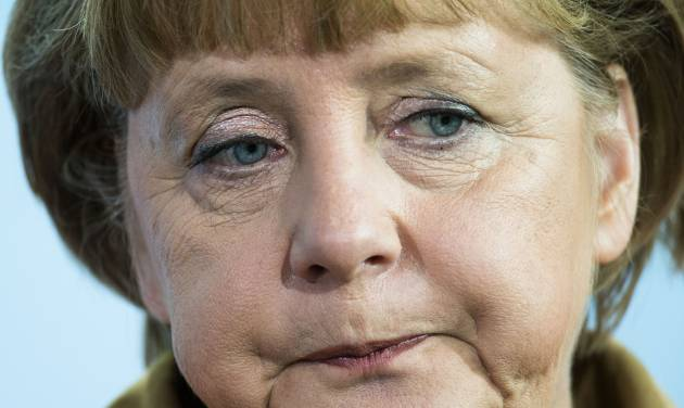 German Chancellor Angela Merkel talks to media after a meeting with Hungarian Prime Minister Viktor Orban at the chancellery in Berlin, Thursday, Oct. 11, 2012. Europe's economic outlook darkened further Thursday when top economists slashed their growth forecasts for Germany and warned that public support for financial aid for struggling countries was evaporating. (AP Photo/Markus Schreiber)