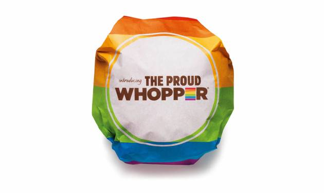 """This undated image provided by Burger King shows the Proud  Whopper.  Once opened up, a message inside the wrapper states, """"We are all the same inside."""" (AP Photo/Burger King)"""