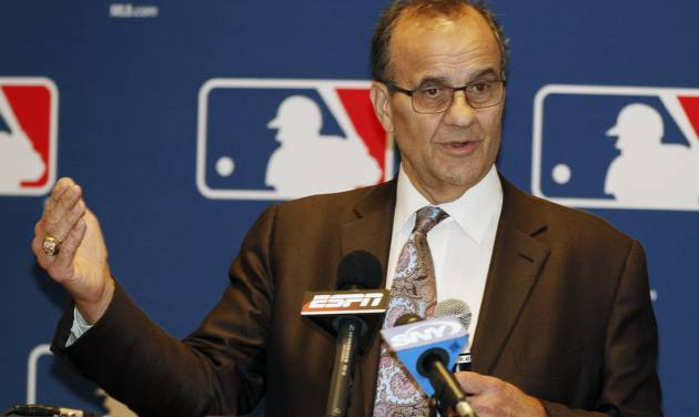 Major League Baseball executive Joe Torre talks with the media at the annual baseball general managers meeting, Tuesday, Nov. 12, 2013, in Orlando, Fla. (AP Photo/Reinhold Matay)