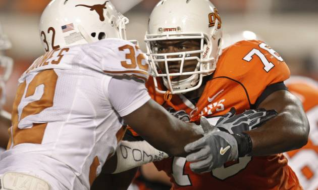 Former Oklahoma State offensive lineman Russell Okung, right, is considered by some to be the prize of the coming class of offensive tackles, headed to Washington with the fourth pick or Kansas City with the fifth. AP PHOTO