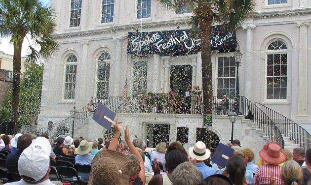 FILE - In this Friday, May 25, 2012 photo, confetti rains down on the crowd during the opening ceremonies of the Spoleto Festival USA in Charleston, S.C. On Sunday, Dec. 9, 2012, the festival announced its lineup for the upcoming 2013 season. (AP Photo/Bruce Smith)