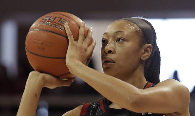 Louisville guard Antonita Slaughter (4) attempts a shot in the first half of an NCAA women's college basketball game against SMU, Sunday, Jan. 19, 2014, in Dallas. Louisville won 81-66. (AP Photo/Brandon Wade)