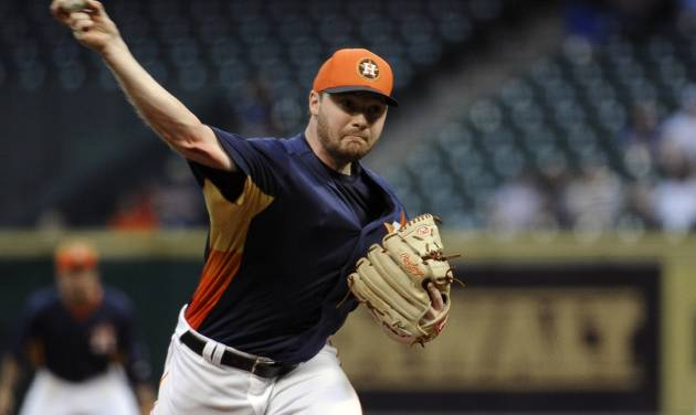 Houston Astros' Alex White delivers a pitch in the first inning of an exhibition baseball game against the Chicago Cubs, Friday, March 29, 2013, in Houston. (AP Photo/Pat Sullivan)