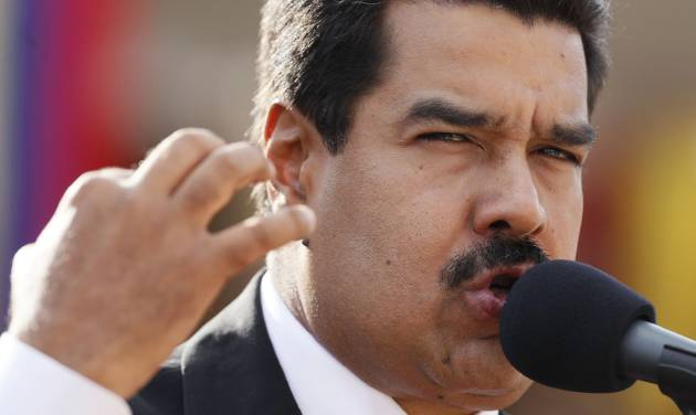 Venezuela's President Nicolas Maduro speaks during a military promotion ceremony at the 4F military museum in Caracas, Venezuela, Friday, July 5, 2013.  Venezuela marks on Friday the 202 anniversary of independence from Spain. (AP Photo/Ariana Cubillos)