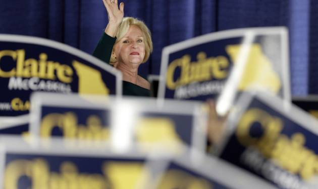 """FILE - In this Tuesday, Nov. 6, 2012 file photo, Sen. Claire McCaskill, D-Mo., waves to the crowd as she walks on stage to declare victory over challenger Rep. Todd Akin, R-Mo., in the Missouri Senate race in St. Louis. McCaskill will be one of a record 20 women in the next Senate, 17 of them Democrats. Democrats and liberal advocacy groups have declared victory in what they called a Republican """"war on women"""" and are celebrating the pivotal defeats of some GOP candidates who took rigid stands against abortion. (AP Photo/Jeff Roberson)"""