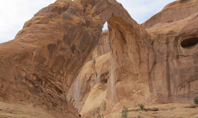 This April 10, 2010 photo shows the Corona Arch near Moab, Utah. The arch has become popular for daredevil rope-swinging after climbers figured out how to adapt climbing gear to set up a pendulum ride under the arch. Federal officials are considering outlawing the stunt made so popular on YouTube that state authorities banned from commercial outfitters in 2013. (AP Photo/The Salt Lake Tribune, Nate Carlisle)  DESERET NEWS OUT; LOCAL TELEVISION OUT; MAGS OUT