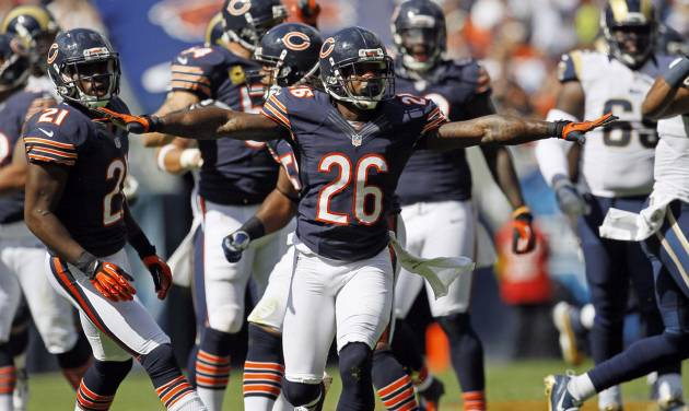 Chicago Bears cornerback Tim Jennings (26) reacts after breaking up a pass against the St. Louis Rams in the second half of an NFL football game in Chicago, Sunday, Sept. 23, 2012. The Bears won 23-6. (AP Photo/Charles Rex Arbogast)