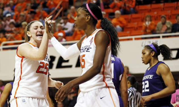 WOMEN'S COLLEGE BASKETBALL / REACTION: Oklahoma State's Lindsey Keller (25) and Toni Young (15) react in front of Kansas State's Mariah White (22) after Young made a shot and was fouled during an NCAA women's basketball game between Oklahoma State University (OSU) and Kansas State at Gallagher-Iba Arena in Stillwater, Okla., Saturday, Feb. 16, 2013. Photo by Nate Billings, The Oklahoman