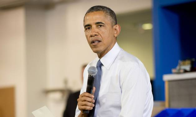 President Barack Obama speaks about the capture of Libyan militant suspected of killing Americans in Benghazi, during his visit to TechShop in Pittsburgh, Pa., Tuesday, June 17, 2014. Obama says he authorized an operation in Libya to detain Ahmed Abu Khattala. His capture marks the first apprehension of an alleged perpetrator in the 2012 attack that killed U.S. ambassador Chris Stevens and three other Americans. (AP Photo/Pablo Martinez Monsivais)