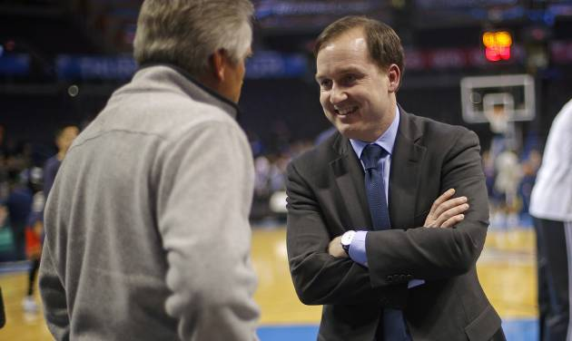 Philadelphia 76ers general manager Sam Hinkie talks with friends before an NBA basketball game between the Oklahoma City Thunder and the Philadelphia 76ers at Chesapeake Energy Arena in Oklahoma City, Tuesday, March 4, 2014. Photo by Bryan Terry, The Oklahoman