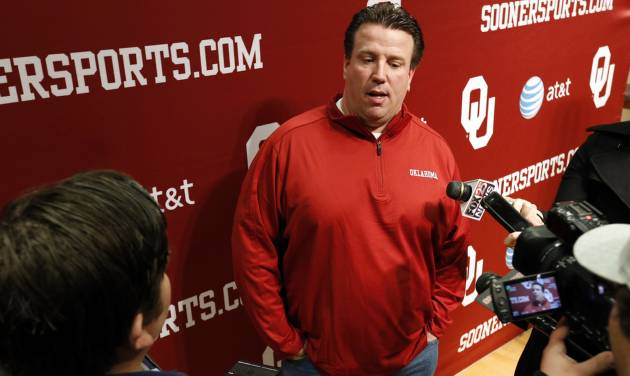 COLLEGE FOOTBALL: New University of Oklahoma (OU) offensive line coach Bill Bedenbaugh speaks with the media at his introductory press conference on Wednesday, Feb. 20, 2013 in Norman, Okla.  Photo by Steve Sisney, The Oklahoman