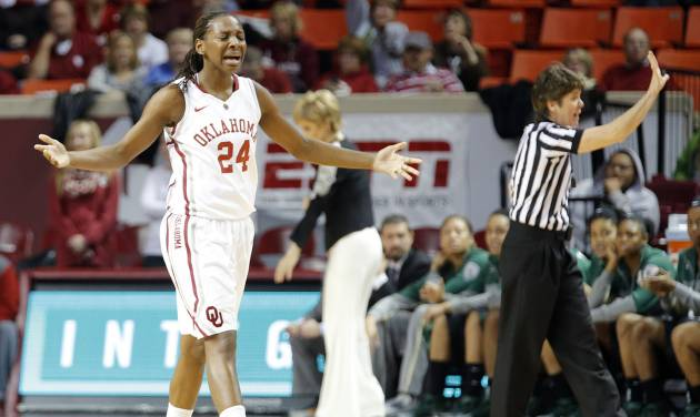OU's Sharane Campbell reacts after fouling out of Monday's loss to Baylor. Photo by Chris Landsberger, The Oklahoman
