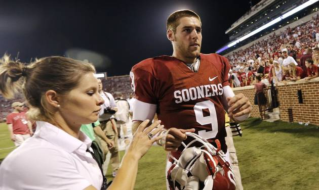 Oklahoma's Trevor Knight (9) walks off the field after the 34-0 win over Louisiana Monroe during the college football game between the University of Okahoma Sooners (OU) and the University of Louisiana Monroe Warhawks (ULM) at the Gaylord Family Memorial Stadium on Saturday, Aug. 31, 2013 in Norman, Okla.  Photo by Chris Landsberger, The Oklahoman