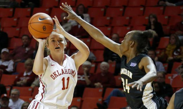 Oklahoma's Derica Wyatt shoots the ball beside Cameron's Sasha Carter during an NCAA women's college exhibition basketball game between the University of Oklahoma and Cameron University at Lloyd Noble Center in Norman, Okla., on Saturday, Nov. 2, 2013. Photo by Bryan Terry, The Oklahoman