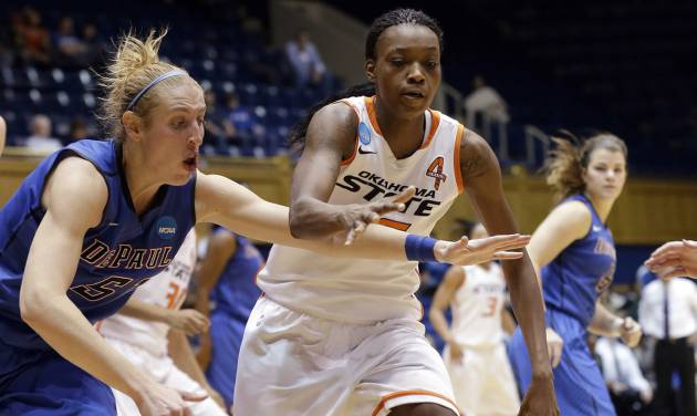 Oklahoma State's Toni Young, right, and DePaul's Katherine Harry (51) chase a loose ball during the second half of a first-round game in the women's NCAA college basketball tournament in Durham, N.C., Sunday March 24, 2013. Oklahoma State won 73-56. (AP Photo/Gerry Broome) ORG XMIT: NCGB119