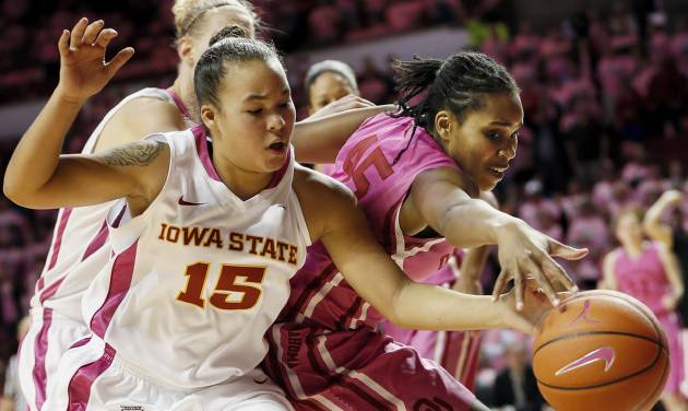 "Iowa State's Nicole ""Kidd"" Blaskowsky (15) and Oklahoma's Jasmine Hartman (45) chase a loose ball during an NCAA women's basketball game between the University of Oklahoma (OU) and Iowa State at the Lloyd Noble Center in Norman, Okla., Thursday, Feb. 14, 2013. Iowa State won, 72-68. Photo by Nate Billings, The Oklahoman"