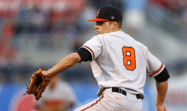 Oklahoma State's Jason Hursh pitches against Oklahoma during a college baseball game Friday, May 10, 2013, in Tulsa, Okla. (AP Photo/Tulsa World, Matt Barnard) ORG XMIT: OKTUL307