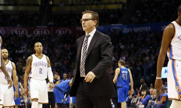 Coach Scott Brooks and the Oklahoma City Thunder enter Tuesday's game at Sacramento just a game ahead of the Los Angeles Clippers for the Western Conference's No. 3 seed.                    Photo by Nate Billings, The Oklahoman