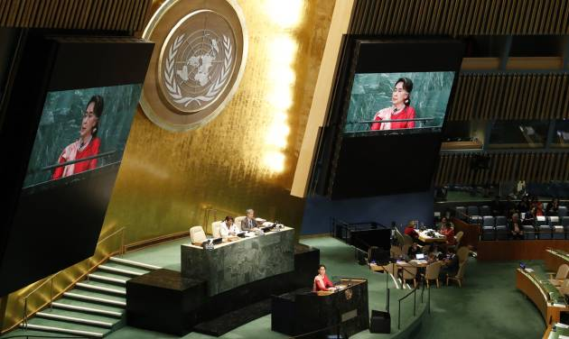 Suu Kyi makes 1st United Nations speech as Myanmar leader