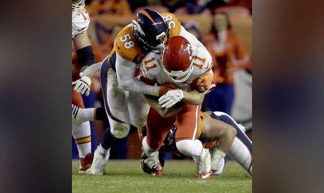 Kansas City Chiefs quarterback Alex Smith is sacked by Denver Broncos outside linebacker Von Miller during the first half of an NFL football game in Denver. Spoiler is an unfamiliar role for Von Mil