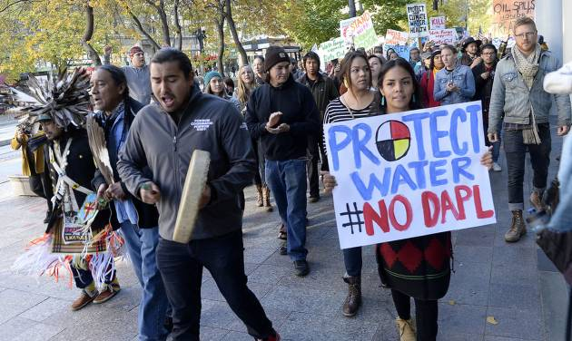 Protesters march in salt lake city in support of the standing rock