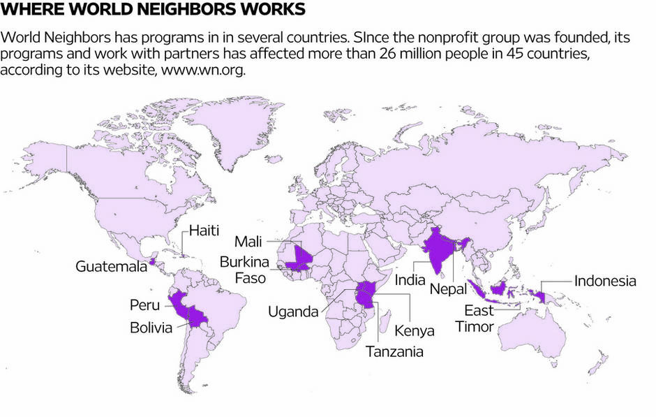 map showing countries where World Neighbors is now or has been active