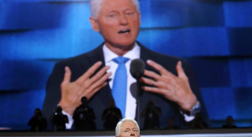 Clinton addresses Democratic convention as his wife becomes first female major-party presidential...