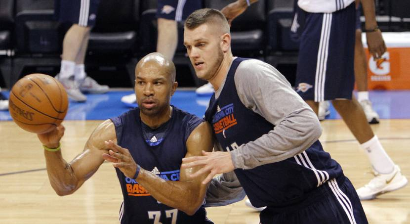 NBA BASKETBALL: Oklahoma City\'s Derek Fisher and Cole Aldrich go through drills during the NBA Finals practice day at the Chesapeake Energy Arena on Monday, June 11, 2012, in Oklahoma City, Okla. Photo by Chris Landsberger, The Oklahoman