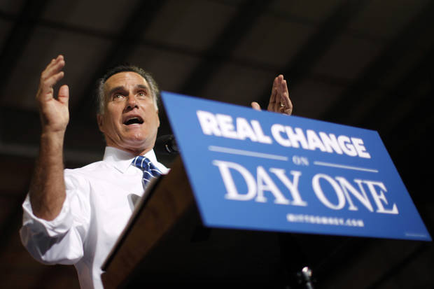 Republican presidential candidate, former Massachusetts Gov. Mitt Romney gestures as he campaigns at Screen Machine Industries, in Etna, Ohio, Friday, Nov. 2, 2012. (AP Photo/Charles Dharapak)