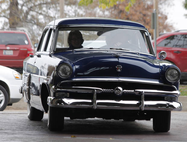 "Singer Gayla Peevey arrives in a 1953 Ford  at the Oklahoma City Zoo to sing her hit song from 1953, ""I Want a Hippopotamus for Christmas"" Sunday, November 20, 2011. Photo by Doug Hoke, The Oklahoman"