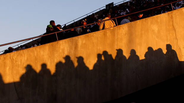 Fans wait for the start of the college football game between the University of Oklahoma Sooners (OU) and the Notre Dame Fighting Irish at Gaylord Family-Oklahoma Memorial Stadium in Norman, Okla., Saturday, Oct. 27, 2012. Oklahoma lost 30-13. Photo by Bryan Terry, The Oklahoman