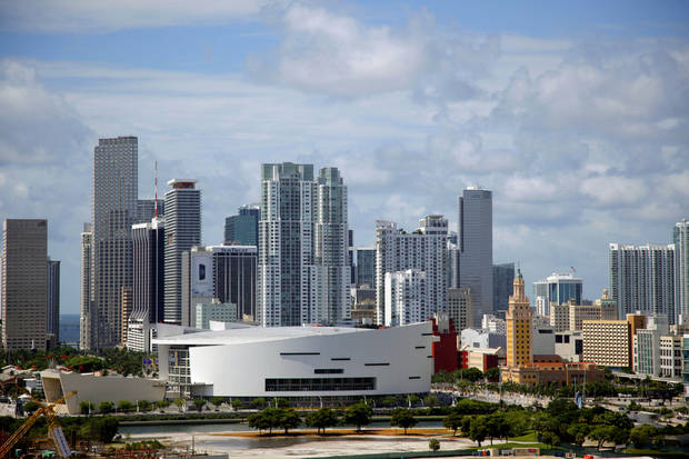 A view of American Airlines Arena in downtown Miami on Saturday, June 16, 2012. The Oklahoma City Thunder will play the Miami Heat in Game 3 of the NBA finals on Sunday. Photo by Bryan Terry, The Oklahoman