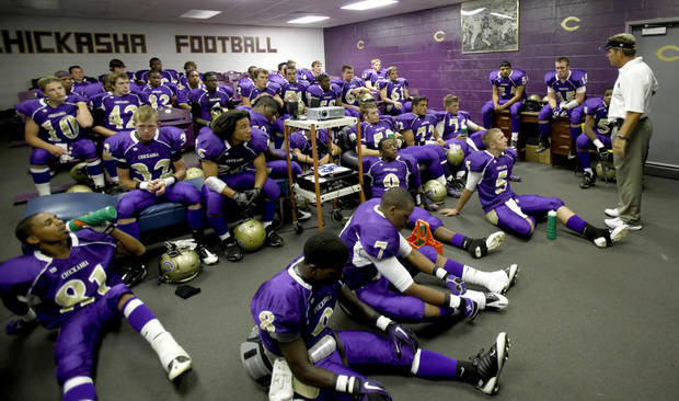 Coach Rick VanCleave addresses the team before the football game between Chickasha and Capitol Hill at Chickasha High School, Friday, Oct. 1, 2010.  It was the first home game since the death of player Kody Turner. Photo by Sarah Phipps, The Oklahoman