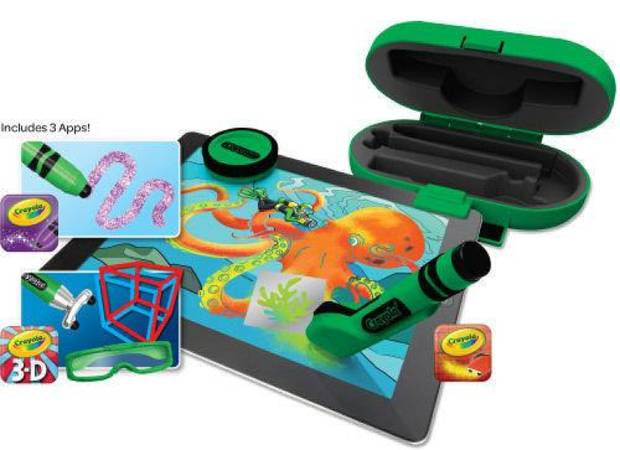 The  Crayola DigiTools Deluxe Pack offers an assortment of creative accessories for the iPad. The pack doesn't include an iPad but does include design instruments like a digital crayon, airbrush, 3-D stylus, stamper and 3-D glasses. PHOTO PROVIDED.  <strong></strong>