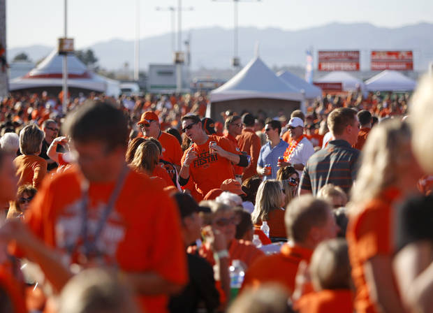 A crowd of OSU fans waits for the start of the Fiesta Bowl between the Oklahoma State University Cowboys (OSU) and the Stanford Cardinal at the University of Phoenix Stadium in Glendale, Ariz., Monday, Jan. 2, 2012. Photo by Bryan Terry, The Oklahoman