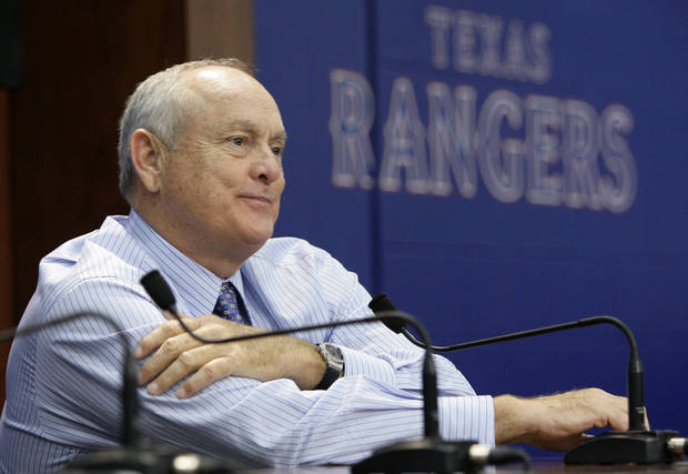 Texas Rangers team president Nolan Ryan sits at a news conference following the announcement the the ball club had acquired Seattle Mariners pitcher Cliff Lee in a trade before a baseball game against the Baltimore Orioles Friday, July 9, 2010 in Arlington, Texas. (AP Photo/Tony Gutierrez)