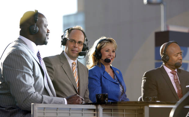 Gov.  Mary Fallin joins the TNT crew before game three of the Western Conference Finals in the NBA playoffs between the Oklahoma City Thunder and the San Antonio Spurs at Chesapeake Energy Arena in Oklahoma City, Thursday, May 31, 2012. Photo by Sarah Phipps, The Oklahoman