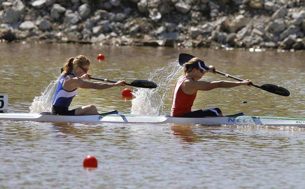 Kaitlyn McElroy,left,  and Maggie Hogan  compete in Women's double kayak 500m final during races for USA Canoe/Kayak World Cup Team Trials on the Oklahoma River,  Saturday, April 21, 2012. Photo by Sarah Phipps, The Oklahoman.